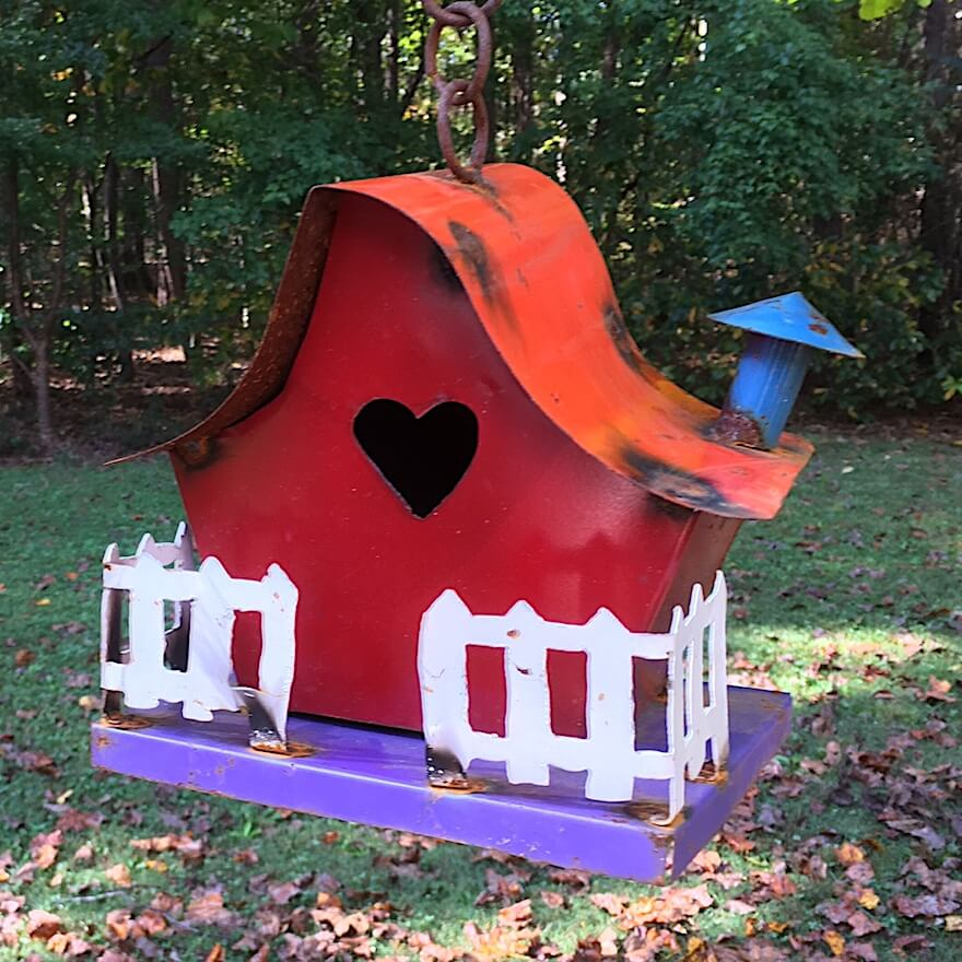 Recycled Metal Cottage Birdhouse