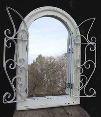 Arched Mirror with Scroll Grate