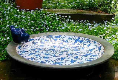 Deck-Mounted Ceramic Bird Bath