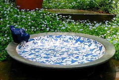 Ceramic Bird Bath with Blue Scroll Inlay