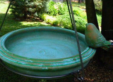 Ceramic Hanging Bird Bath-Teal