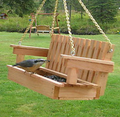 Porch Swing-Mini Bird Feeder in Cedar
