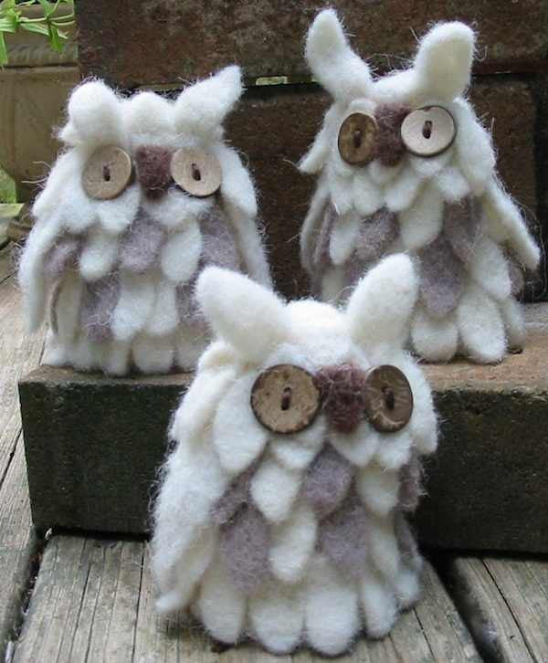 Hand Felted Wooly Owls