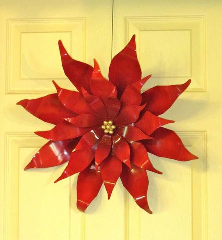Extra Large Poinsettia Handcrafted Steel