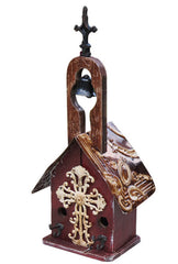 Rustic Church Birdhouse with Large Cross and Bell