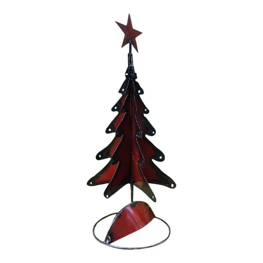 Recycled metal christmas tree rustic red holiday