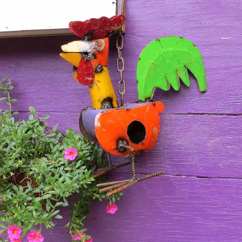Colorful Recycled Metal Rooster Birdhouse