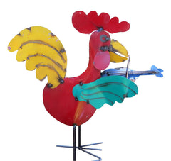 Musical Rooster Metal Yard Art-Mexico