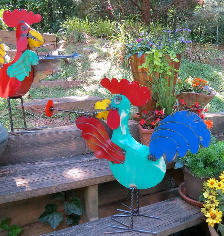 Rooster Garden Sculpture Metal Rooster Decor Metal Yard Art