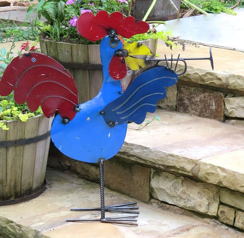 Jamming Rooster Metal Yard Art