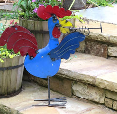 Large Rooster Metal Yard Art