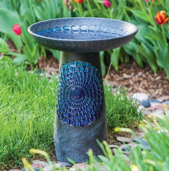 Royal Honeycomb Ceramic Bird Bath