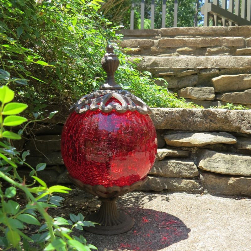 Ruby Crackle Glass & Iron Globe