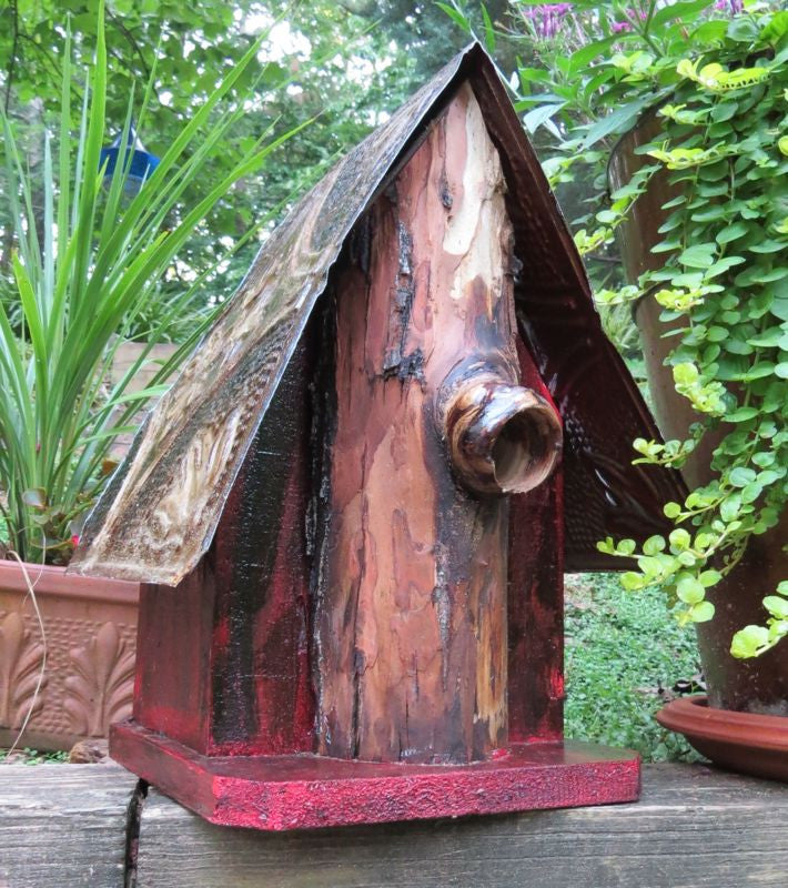 Rustic Log-Front Birdhouse