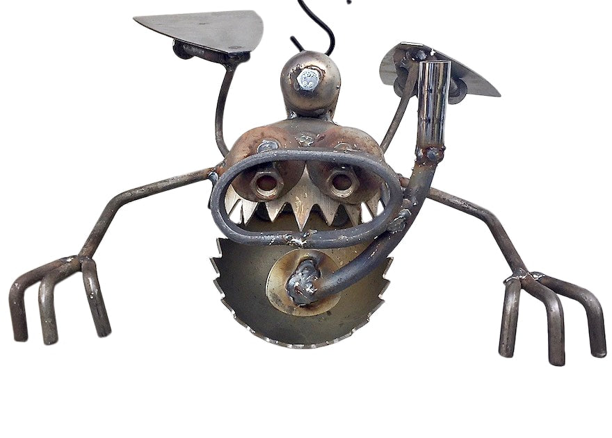 Scuba Frog Recycled Metal Garden Art