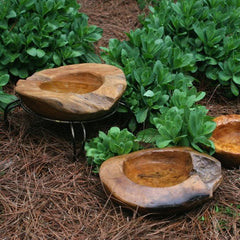 Small Teak Ground Bird Bath