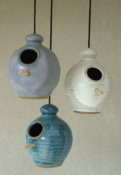 Small Stoneware Bird Feeder in White, Lavender and French Blue
