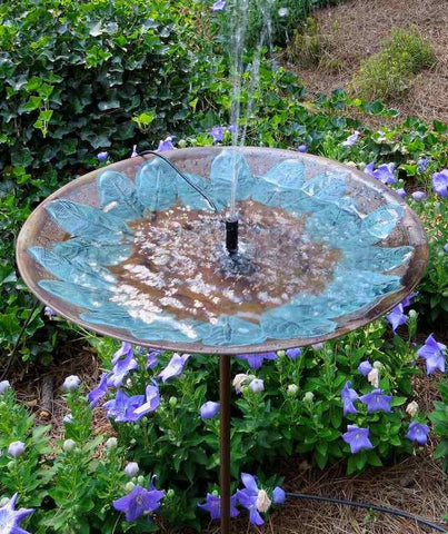 Brass Leaves Solar Bird Bath