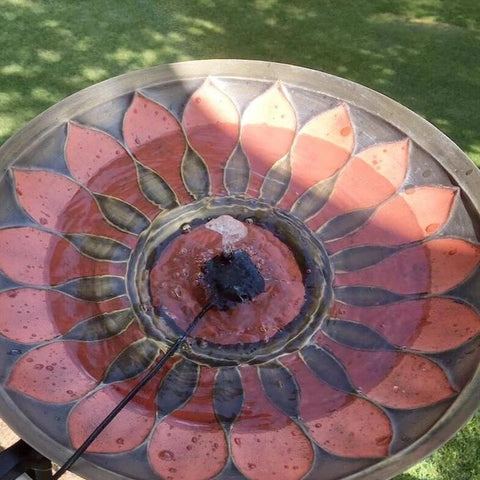 Red Petals Solar Bubbler Bird Bath
