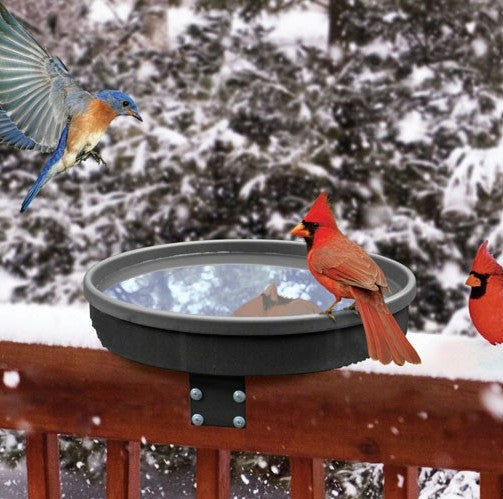 Deck-Mount Heated Bird Bath