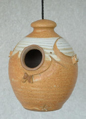 Small Stoneware Hanging Birdhouse-Butternut