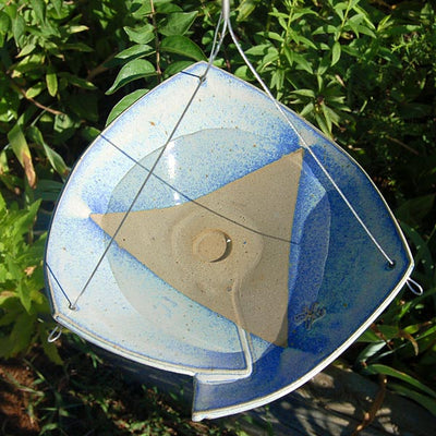 Stoneware Hnging Bird Bath Blue