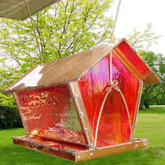 Large Capacity Stained Glass Bird Feeder
