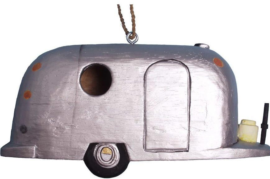 Fifth Wheel Silver Trailer Wooden Birdhouse