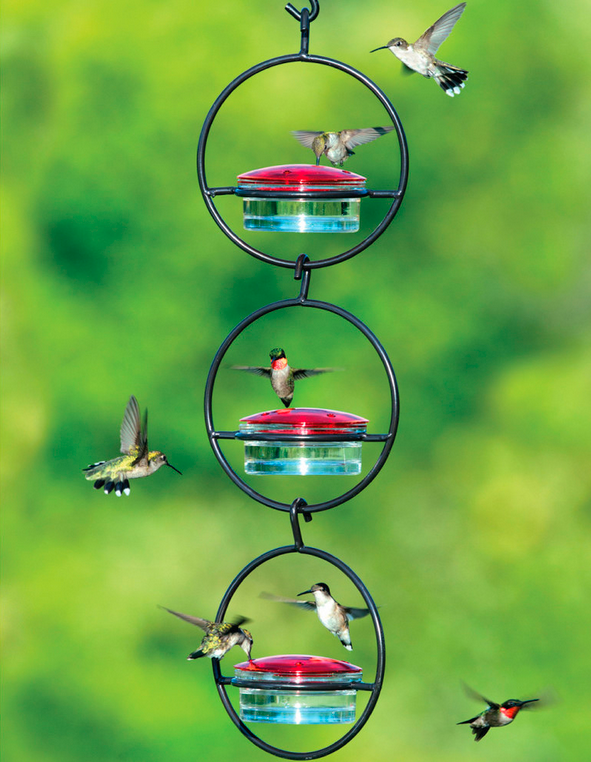 Triple Orb Glass Hummingbird Feeder