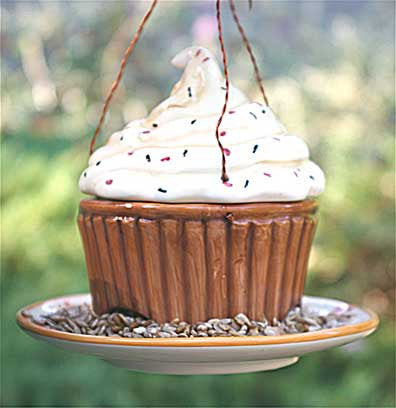 Ceramic Cupcake Bird Feeder