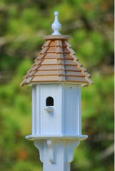 vinyl bluebird house with cypress shake roof