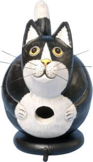 Black and White Fat Cat Wooden Birdhouse