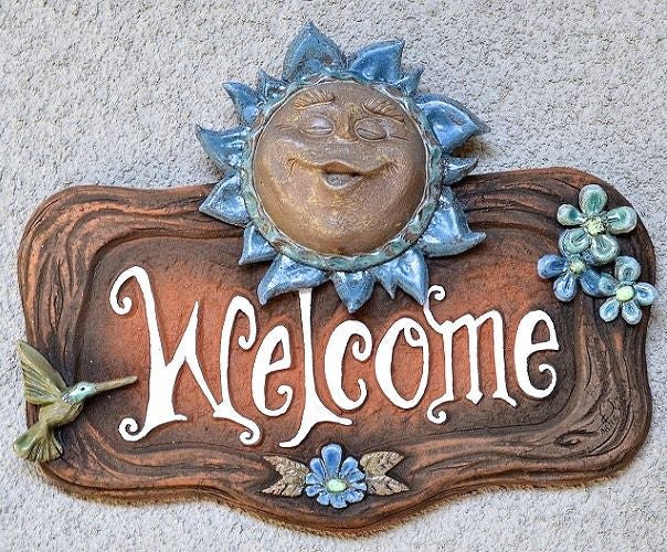 Ceramic Sun Face Welcome Plaque