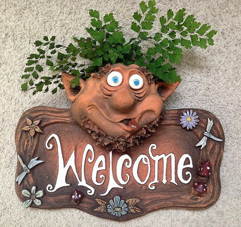 Troll Planter Welcome Plaque