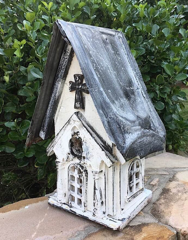 White Church Birdhouse with Mounting Flange