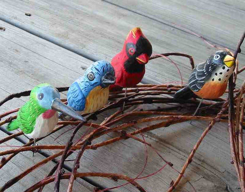 Wood Birds-Handcrafted Set/4