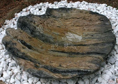 Large Ground Birdbath-Aged Wood Texture