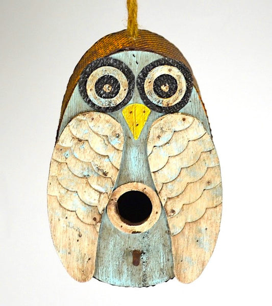 Distressed Owl Birdhouse Whimsical Bird Houses Fun Owl