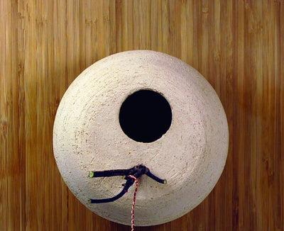Handcrafted Stoneware and Bamboo Birdhouse