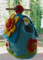 Hand Made Felt Wool Birdhouse-Flower House