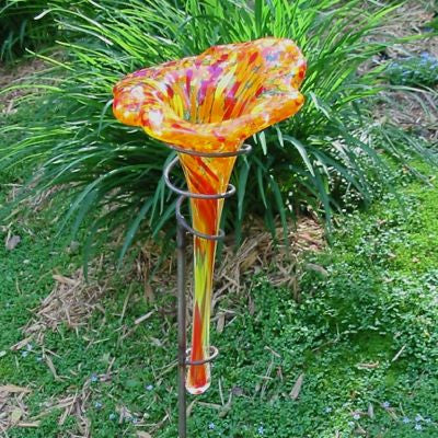 Staked Glass Butterfly Feeder/Bath-Orange 38-inch