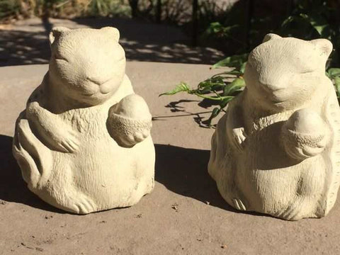 Meditating Zen Squirrels Set-Stone Garden Sculpture