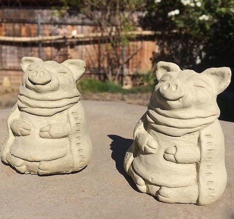 Meditating Zen Pigs Set-Stone Garden Sculpture