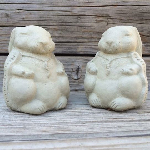 Meditating Zen Rabbits Set-Stone Garden Sculpture