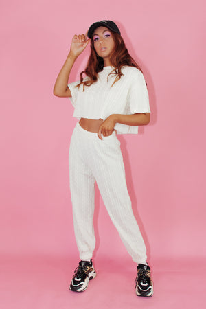 Thea Knit Pants || White