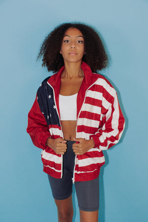 Vintage USA Flag Bomber Jacket