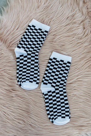 Black and White Checkered Socks | SUNSHINE DREAMER ONLINE