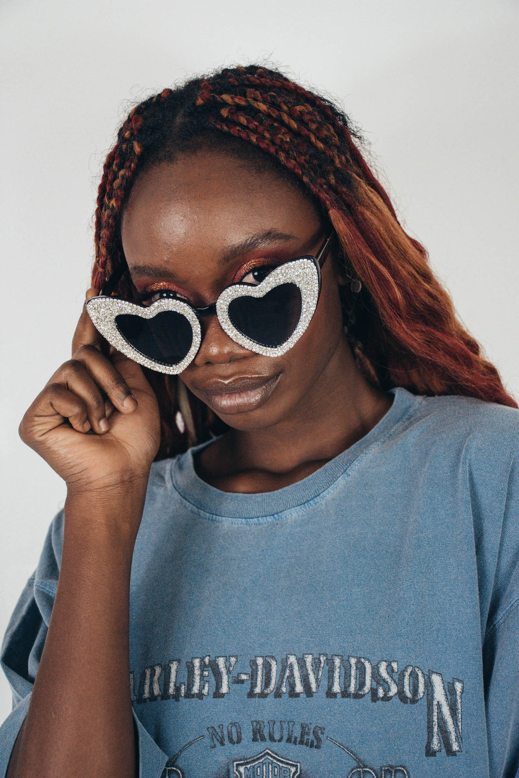 Heart Eyes Sunglasses || Silver Glitter