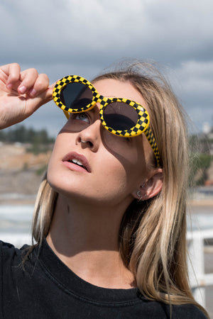 Vintage Inspired Glasses || Cobain Black/Yellow Check | SUNSHINE DREAMER ONLINE