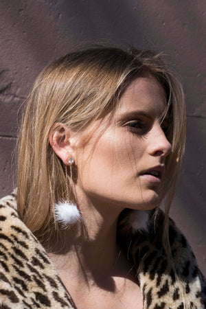 Totally Buggin' White Pom Pom Earrings | SUNSHINE DREAMER ONLINE